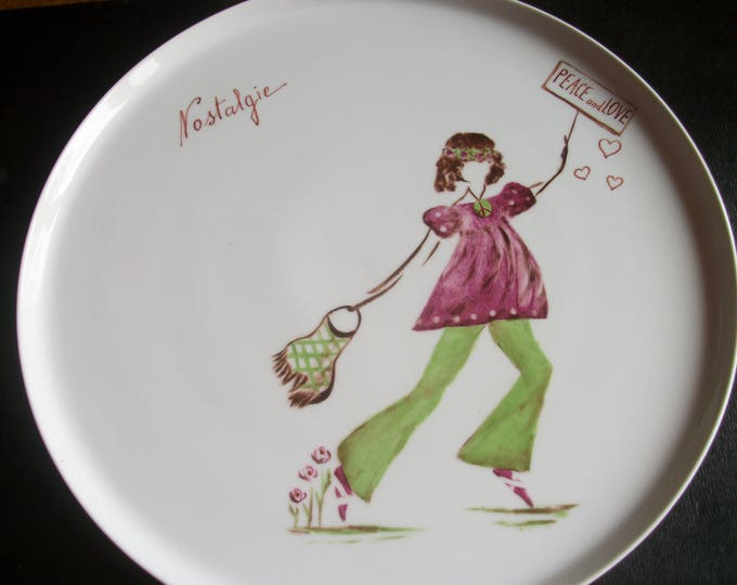 large dish / handpainted porcelain / pattern design / theme/nostalgia / craft creation