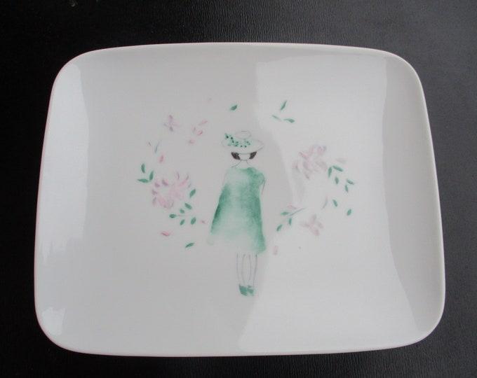 Plate/porcelain/painted handmade/poetry /.