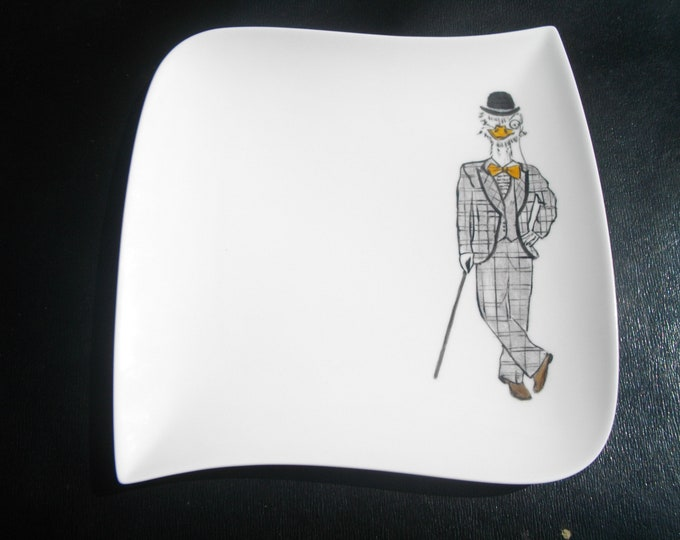 plate design/square/painted handmade / ceramic/humorous