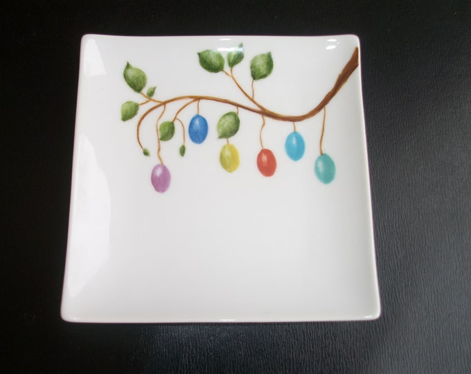Cup / square / Easter / handpainted on porcelain