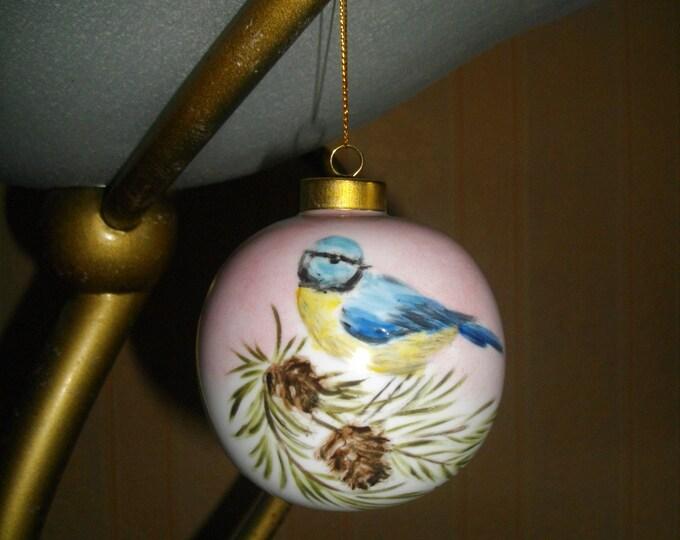 Christmas ball / painted handmade/porcelain / chickadee