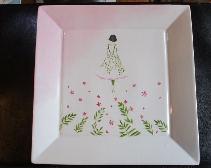 Square dish/tray / design / / porcelain hand painted / poetic