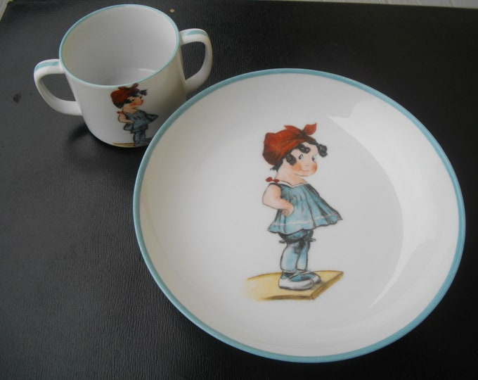 plate/Cup/granddaughter / handpainted / porcelain