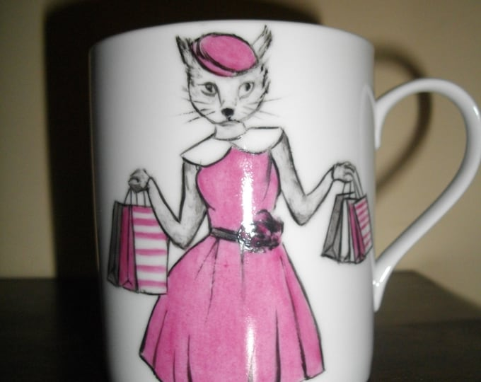 mug/Cup/painted handmade/porcelain / humanized animal/cat