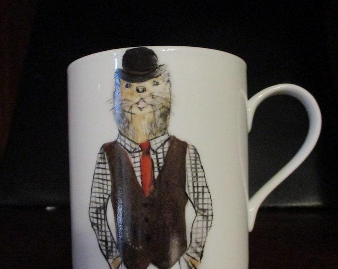 Mug/Cup / painted handmade porcelain/animal/humanized / Otter