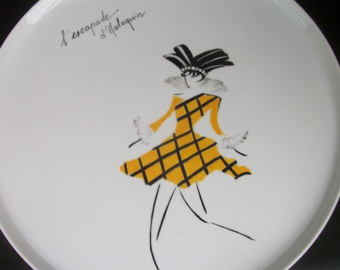 tray / Bowl / /peint hand on porcelain pie / /Arlequin theme / Carnival / handmade / unique