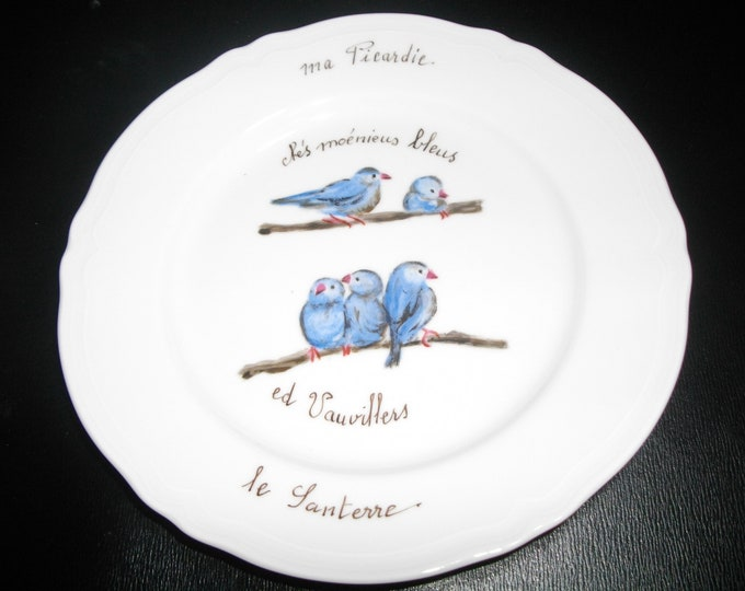 /blason porcelain hand painted humorous dessert plate folk/nickname/Picardy / Vauvillers/amount