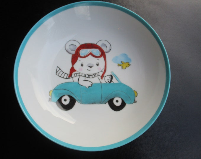 plate and Cup / handpainted / porcelain / boy/bear