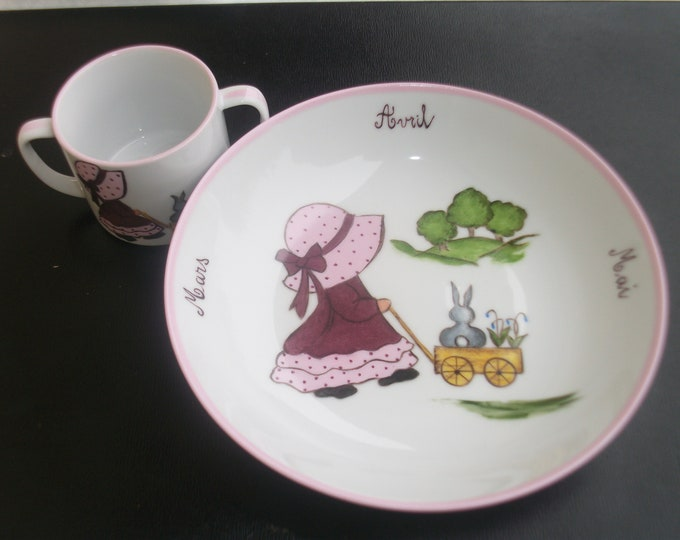 plate and Cup / Bowl / Cup porcelain / girl / spring / handpainted on porcelain
