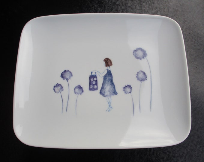 dessert plate / China/hand-painted / poetry