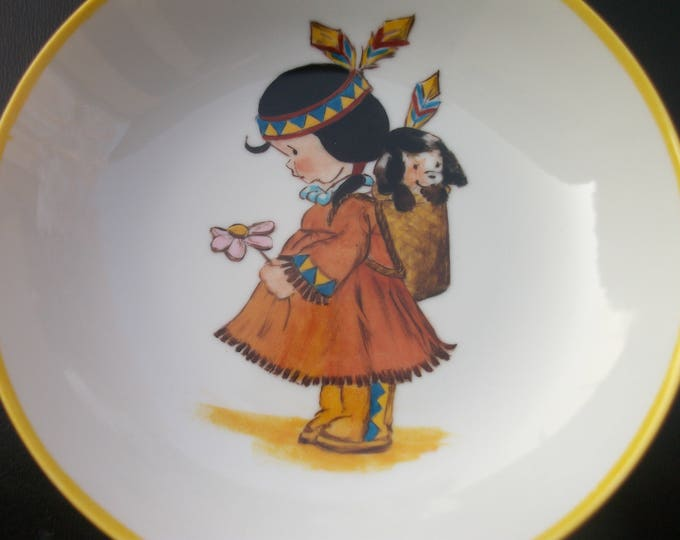 soup plate / handpainted porcelain / craft french /petite girl / Indian / vintage