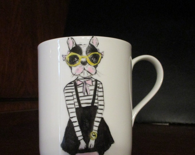 Mug/Cup/painted handmade / porcelain/animal/dog humanized