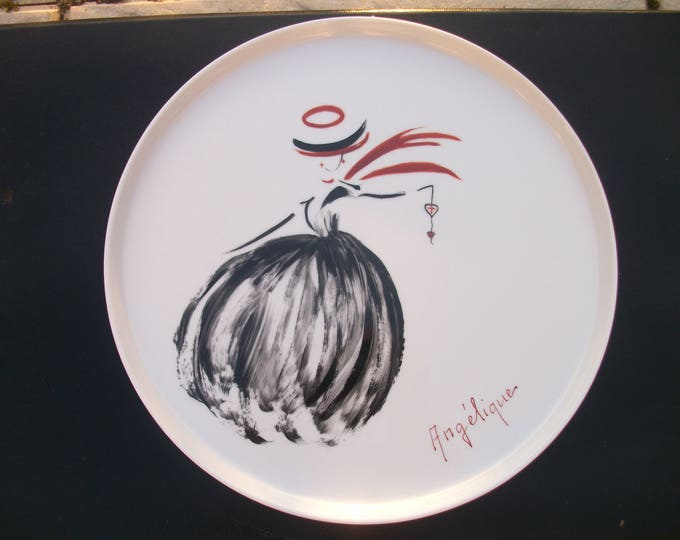 tray or pie plate / french /Artisanat /ANGELIQUE themed / handpainted porcelain / handmade