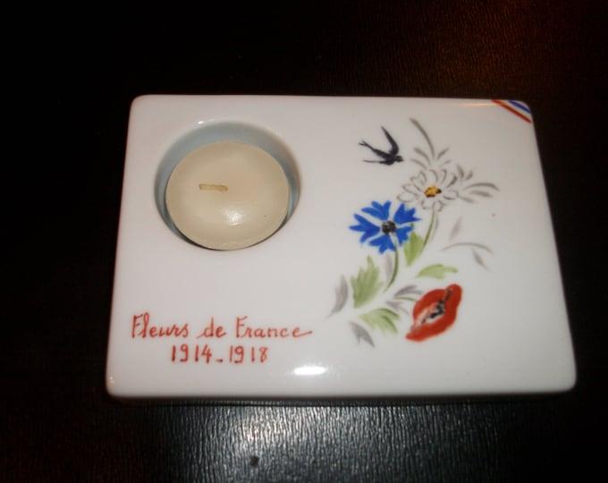 small candle holder / modern hand on porcelain France /fleurs /peint / patriotic