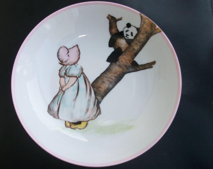 soup plate / handpainted porcelain / for /petite girl / customization / panda