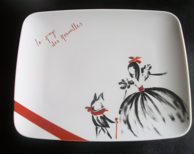 plate flat /rectangulaire / /peinte hand on porcelain design / Wonderland / French craft Creation