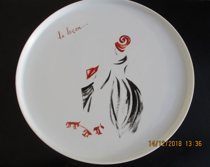Dish/tray/painted handmade/porcelain / lesson