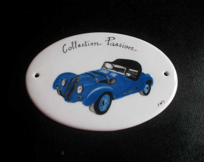 door plate / collector / handpainted on porcelain handmade / car / vintage / bugatti