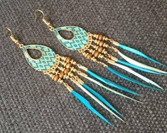 Boucles d'oreilles bleu turquoise,bronze,émail et plumes,attrape-rêve/feather dreamcatcher earrings,aretes de cazador de sueños,plumas