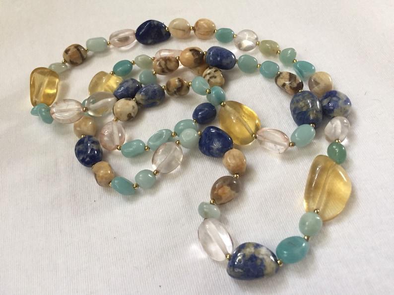 amazonite Jasper paradise Crystal sodalite gemstone long necklace yellow Calcite necklace aqua blue red beige olive nuggets