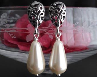"""""""White Pearl"""" drop earrings"""