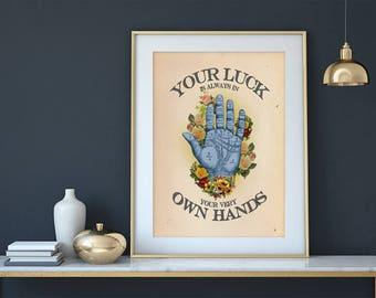 Vintage Art, Vintage Art Print, Vintage Floral Print, Vintage Poster, Vintage Palm Reading Print, Home Decor, Palmistry