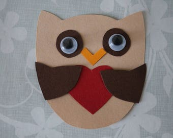 paper OWL embellishment and red heart