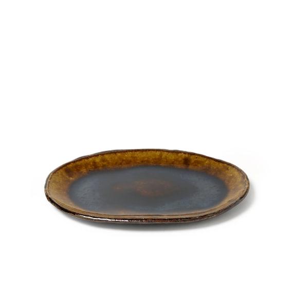 Large Handmade Rectangle Plate Dinnerware Japanese Pottery Ceramics Original Glaze wabi sabi eco friendly Kei Kawachi