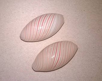 2 white blown glass oblong striped blue and orange beads