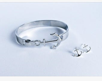 Anchor bracelet silver anchor earrings