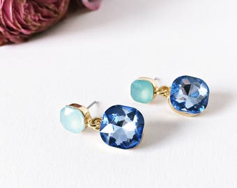Earrings light blue and mint with gold