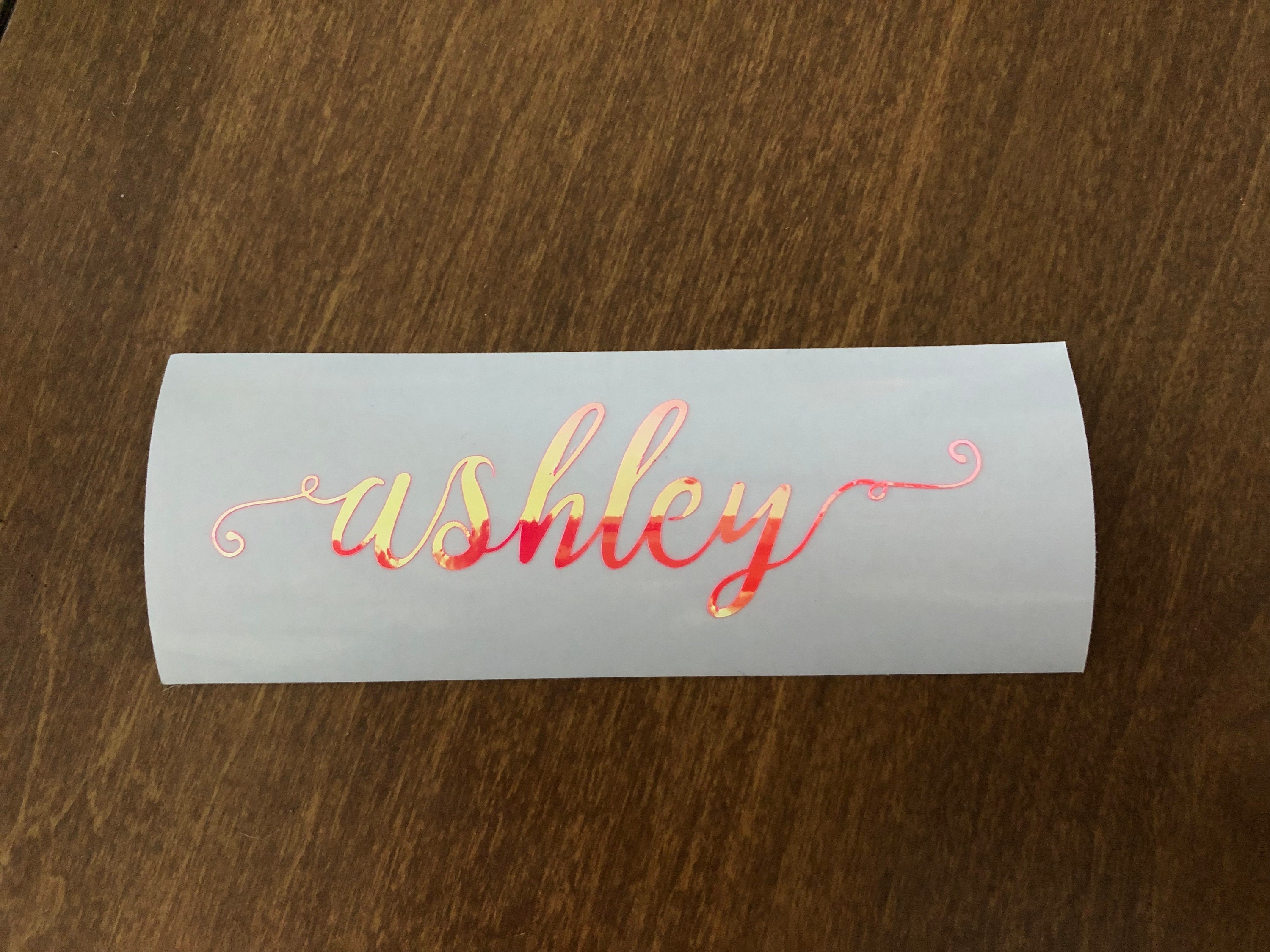 Small holographic shiny custom name sticker decal name decal name labels custom vinyl sticker custom vinyl decal 3inches 5inches