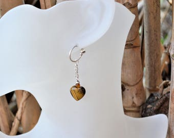 Silver plated earrings with a tiger eye heart / protection stone