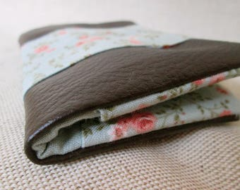 Cards Brown faux leather, soft blue liberty