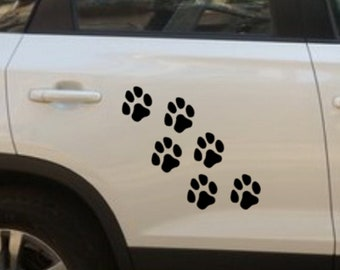 Set of 6 Large Paw Prints Stickers dog paws Car Decal Vinyl Sticker cat paws