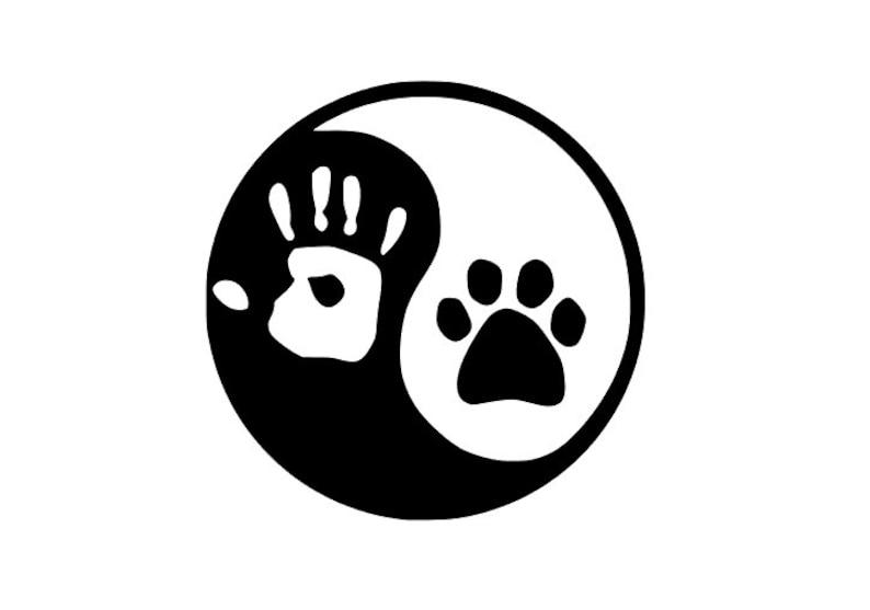 7e58eaae4b90 Yin Yang Hand and Paw Decal Sticker Dog Cat Car Window Vinyl   Etsy