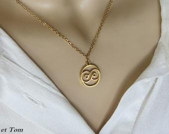 Infinite necklace, infinite symbol pendant, infinite sign, necklace symbol of eternity, infinite jewel love, friendship, golden chain, gift .