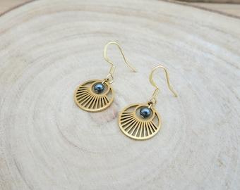 Golden sun earrings, graphic, trend, sunbeams, hematite stone, stainless steel, hooks, clips or sleepers
