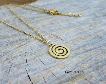 Spiral necklace, golden spiral pendant, gold chain, gold spiral medallion, stainless steel gold chain