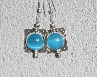 Blue turquoise earrings, turquoise beads, square silver plated, simple and bright jewelry