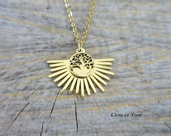 Sun necklace and tree of life, sun pendant and golden tree of life, golden sun chain life tree.