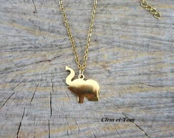 Elephant necklace, stainless golden elephant pendant, golden elephant chain.