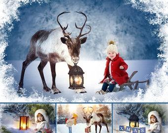 Christmas Set of 50 Photoshop Overlays, Backdrop, Santa, Reindeer, Lightg, Holiday, Snow frame, Decoration, Chimney, photoshop overlays
