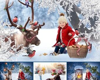 Christmas Set of 55 Photoshop Overlays, Backdrops, Santa Deer, Reindeer, Lightg, Holiday, Snow frame, Decoration,branches,photoshop overlays