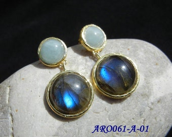 Earrings, labradorite, sunstone, or aquamarine, Vermeil, unique piece to choose