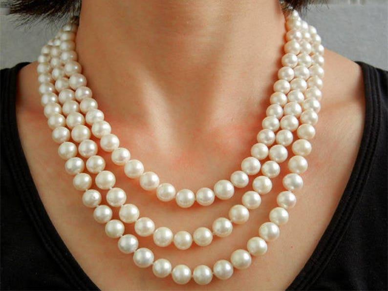 48082f28ac2 Collier Sur Mesure 3 Rangs de Perle de Culture d Eau Douce