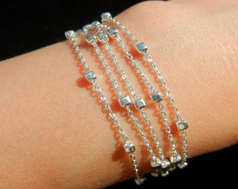 Small cube Sterling Silver 925 chain bracelet