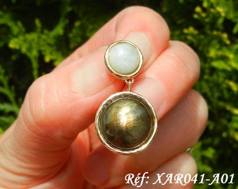 Pendant labradorite, sunstone, or aquamarine, Vermeil, unique piece to choose