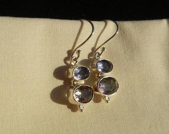 Silver earrings, Topaz, Mystic Rainbow