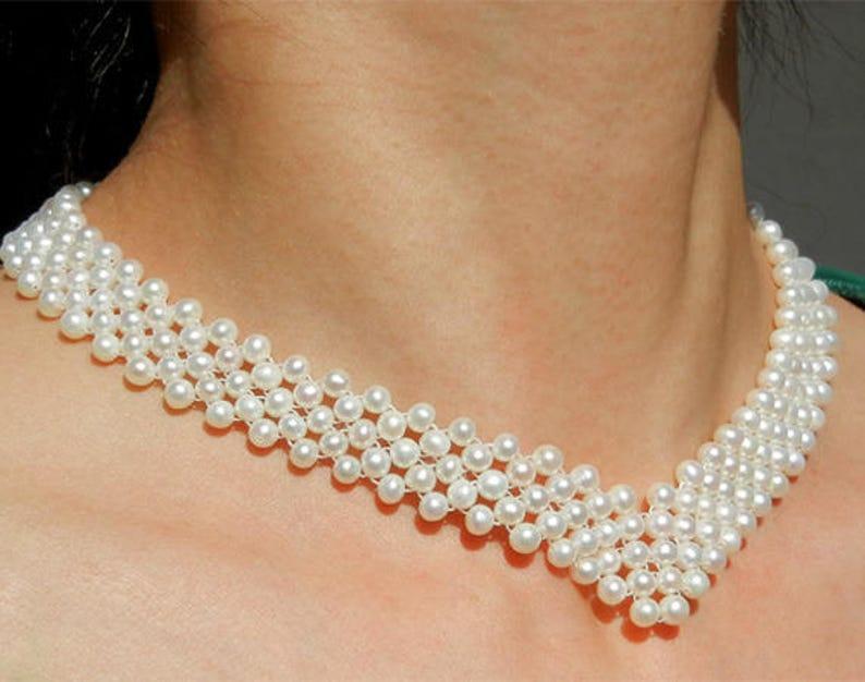 6ee27e11cda Collier Perle de Culture d Eau Douce 5 Rangs Sur Mesure